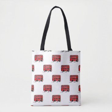frankiesdaughter London Double Decker Bus Watercolor Tote Bag