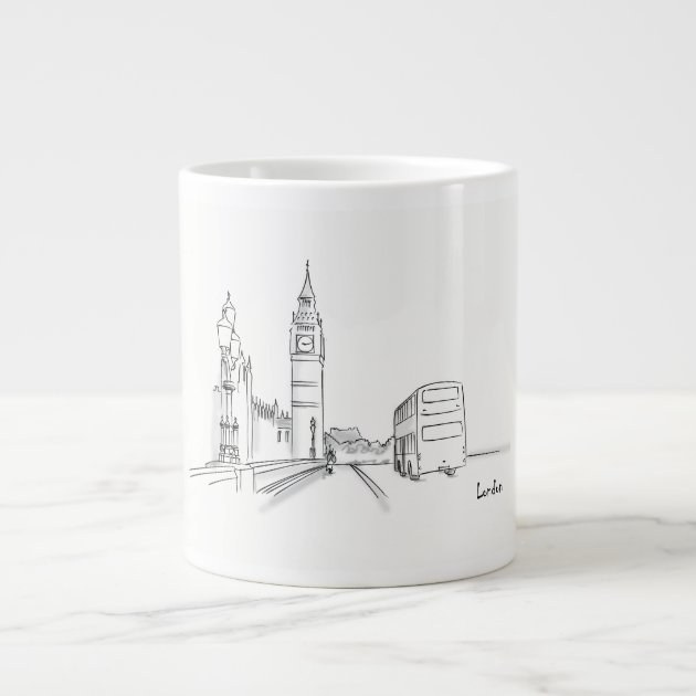 London Drawing Simple Black And White Giant Coffee Mug Zazzle Com
