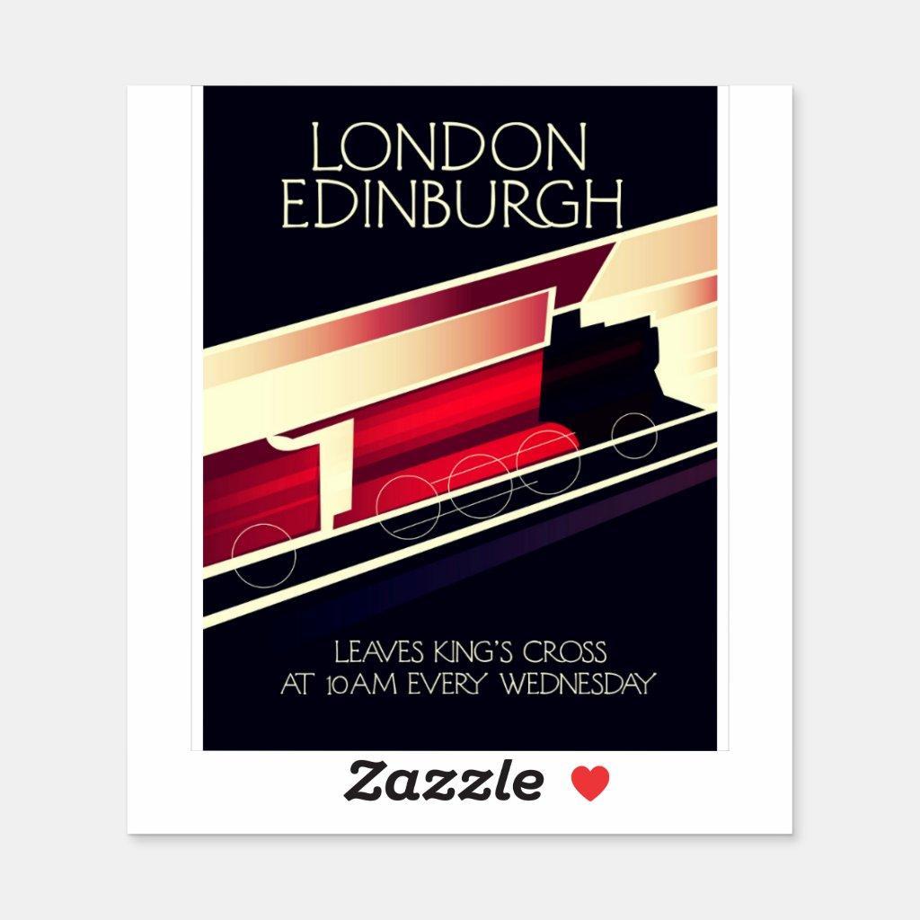 London Edinburgh Locomotive vintage style poster Sticker