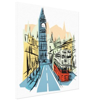 London England artistic city scape wall canvas Stretched Canvas Prints