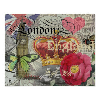 London England Artwork Vintage Travel Print