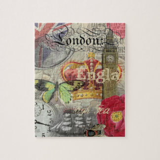London England Artwork Vintage Travel Print Jigsaw Puzzle