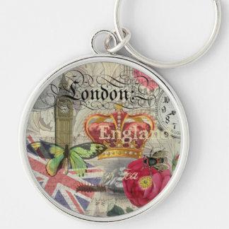 London England Artwork Vintage Travel Print Keychain