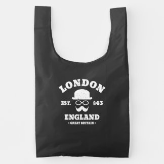 London England Bowler Hat and Moustache Hipster Reusable Bag