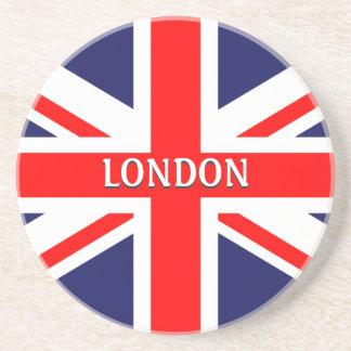 "London England Britain British ""Union Jack"" Sandstone Coaster"