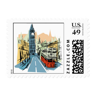 London England city scape postage stamps