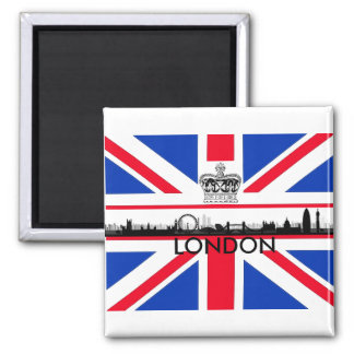 London England City Skyline Union Jack Flag Magnet