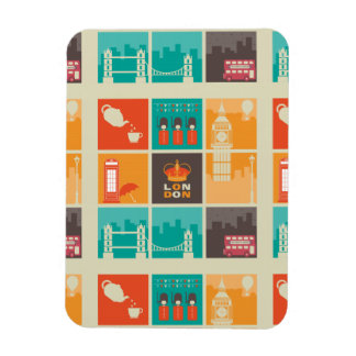 London England Collage Illustration Pattern Magnet
