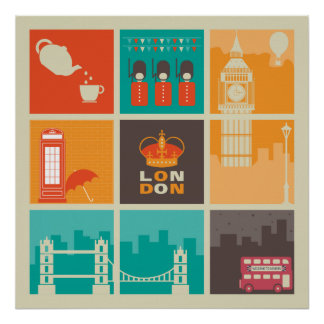 London England Collage Illustration Pattern Poster