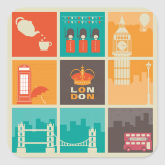 London England Collage Illustration Pattern Square Sticker