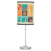 London England Collage Illustration Pattern Table Lamp