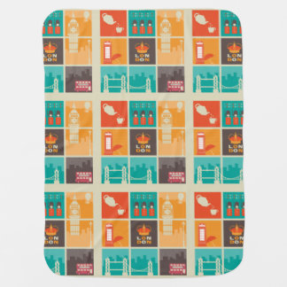 London England Collage Illustration Pattern Receiving Blankets
