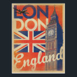 "London, England - Flag Postcard<br><div class=""desc"">Anderson Design Group is an award-winning illustration and design firm in Nashville,  Tennessee. Founder Joel Anderson directs a team of talented artists to create original poster art that looks like classic vintage advertising prints from the 1920s to the 1960s.</div>"