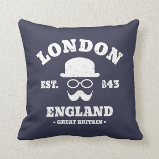 London England GB Mustache and Bowler Hat Throw Pillow