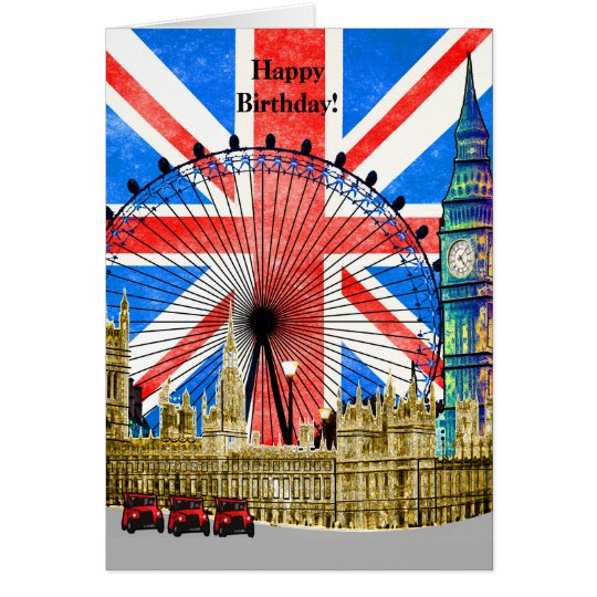 20th Birthday London: London England Happy Birthday Card