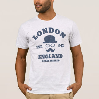 London England Hipster Bowler Hat T-Shirt