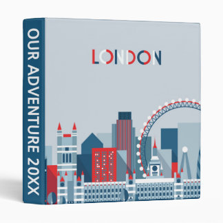London, England | Red, White and Blue Skyline 3 Ring Binder