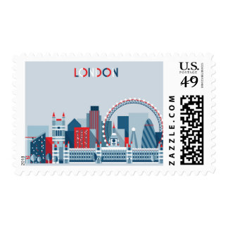 London, England | Red, White and Blue Skyline Postage