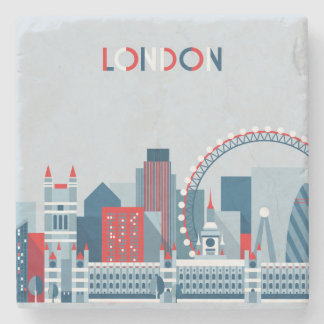 London, England | Red, White and Blue Skyline Stone Coaster