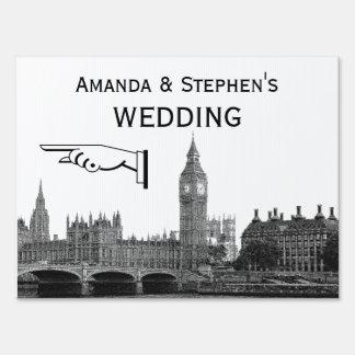 London England Skyline Etch Look Wedding Sign Med