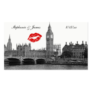 London England Skyline Kiss BW Escort Cards Double-Sided Standard Business Cards (Pack Of 100)