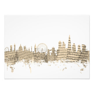 London England Skyline Sheet Music Cityscape Photo Print