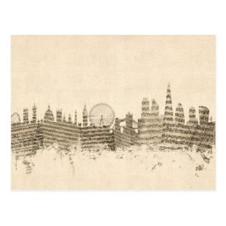 London England Skyline Sheet Music Cityscape Postcard