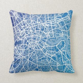 London England Street Map Art Throw Pillow
