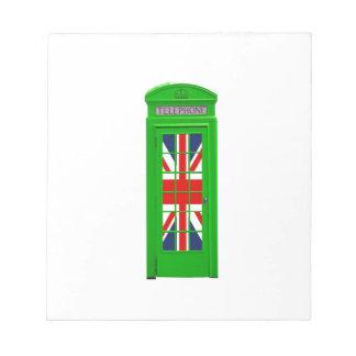 London England telephone box Green Memo Note Pad