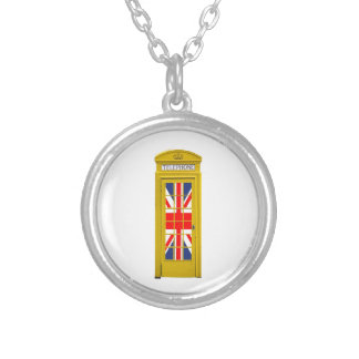 London England telephone box Yellow Custom Necklace
