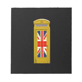 London England telephone box Yellow Memo Pads