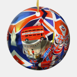 London England Tourist Attractions Double-Sided Ceramic Round Christmas Ornament