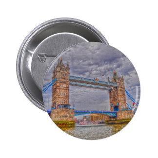London, England Tower Bridge & Thames River 2 Inch Round Button