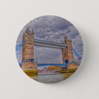 London, England Tower Bridge & Thames River Button