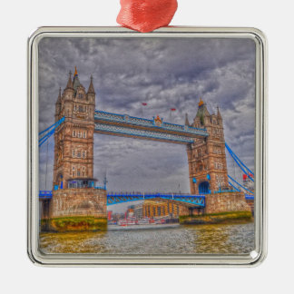 London, England Tower Bridge & Thames River Metal Ornament