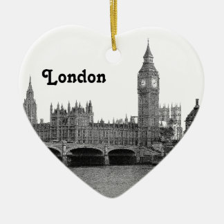 London England UK Skyline Etched Ceramic Ornament