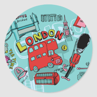 London ~ England United Kingdom Travel Art Classic Round Sticker