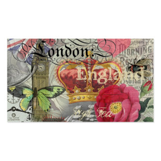 London England Vintage Travel Collage Business Card
