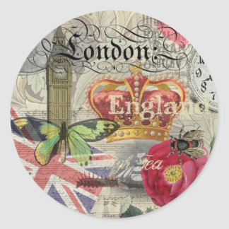 London England Vintage Travel Collage Classic Round Sticker