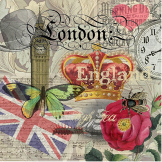 London England Vintage Travel Collage Cutout