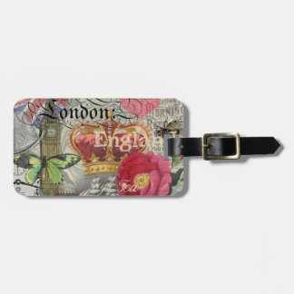 London England Vintage Travel Collage Luggage Tag