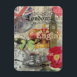 "London England Vintage Travel Collage Magnet<br><div class=""desc"">This beautiful travel collage features everything you love about London. The collage is the perfect gift for people who love to travel, and European cities like London, England are where they go for fun. A destination for a city vacation, this London travel collage is a great gift for your traveling...</div>"
