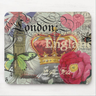 London England Vintage Travel Collage Mouse Pad