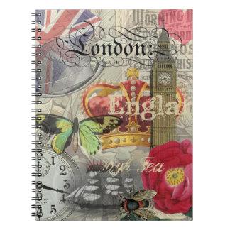 London England Vintage Travel Collage Spiral Notebook