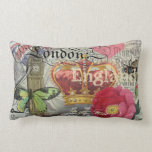 London England Vintage Travel Collage Pillow