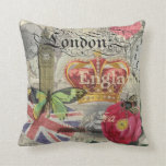 London England Vintage Travel Collage Throw Pillows