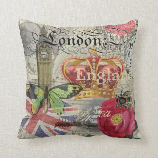 London England Vintage Travel Collage Pillow
