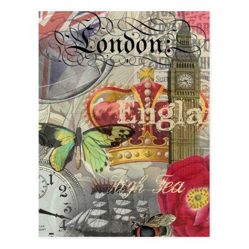 London England Vintage Travel Collage Post Card