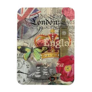 London England Vintage Travel Collage Rectangular Photo Magnet