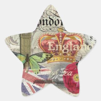 London England Vintage Travel Collage Star Sticker